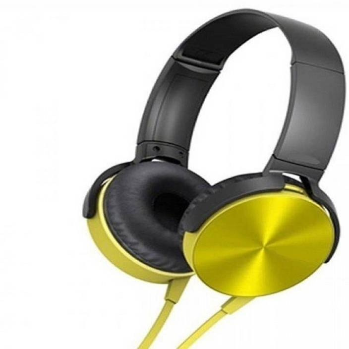 techdeal MDR-XB450 On-Ear EXTRA BASS STEREO (Yellow, On the Ear) Wired Headset with Mic