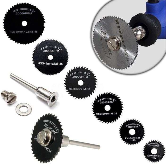 Mini HSS Metal Cutter Power Tools Kit Wood Cutting Discs Drill Mandrel Cutoff