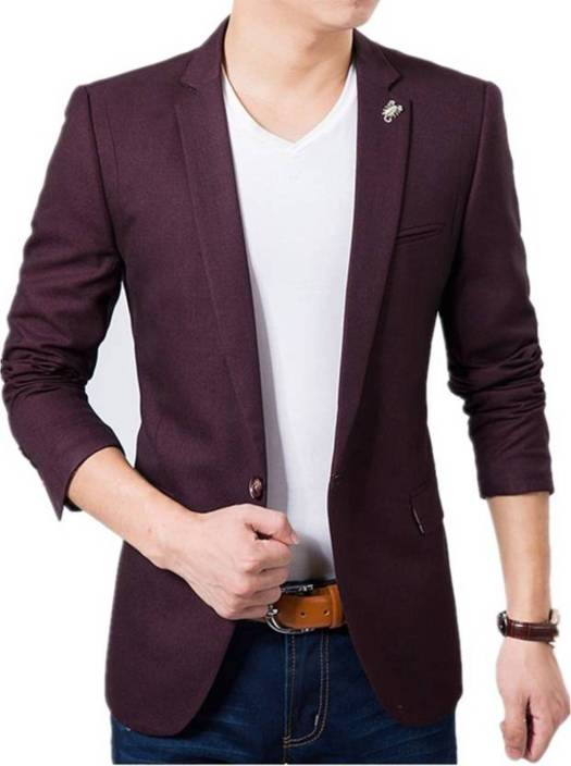 Creative Applique Single Breasted Party Men's Blazer  (Red)