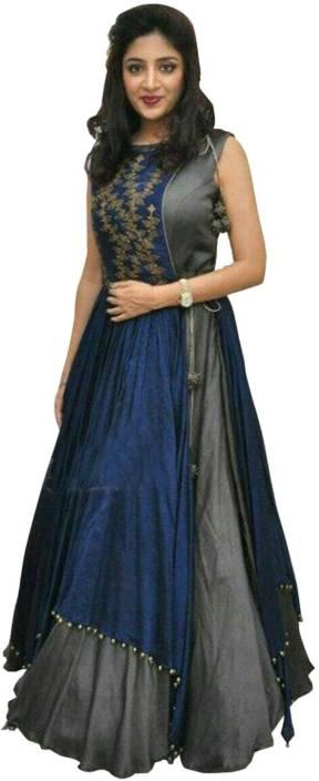 KHODALRAJ CREATION Georgette Embroidered Semi-stitched Salwar Suit Dupatta Material