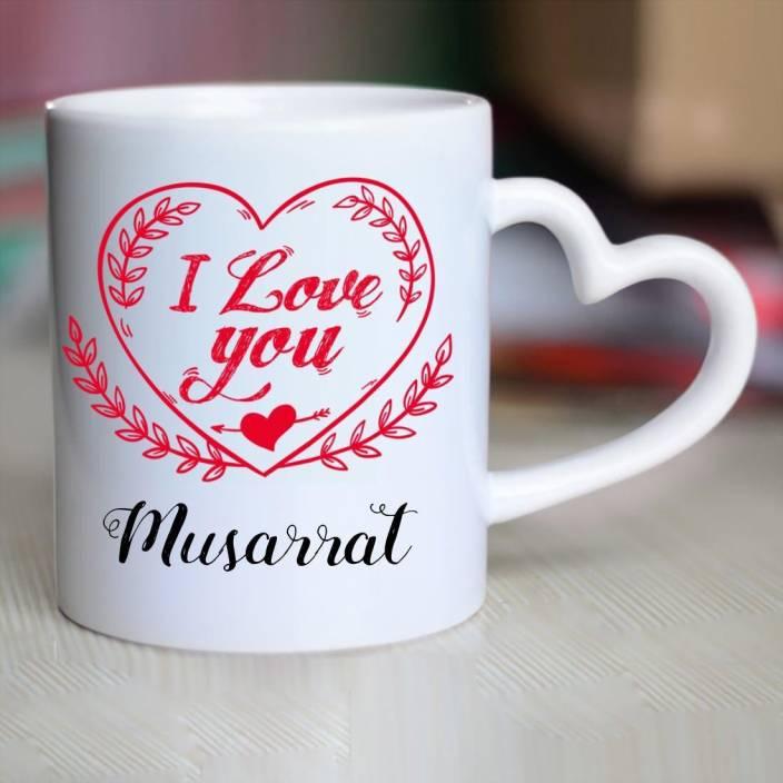Huppme I Love You Musarrat Heart Handle Ceramic Mug 350 Ml