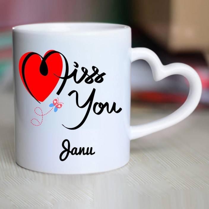 Chanakya I Miss You Janu Heart Handle mug Ceramic Mug