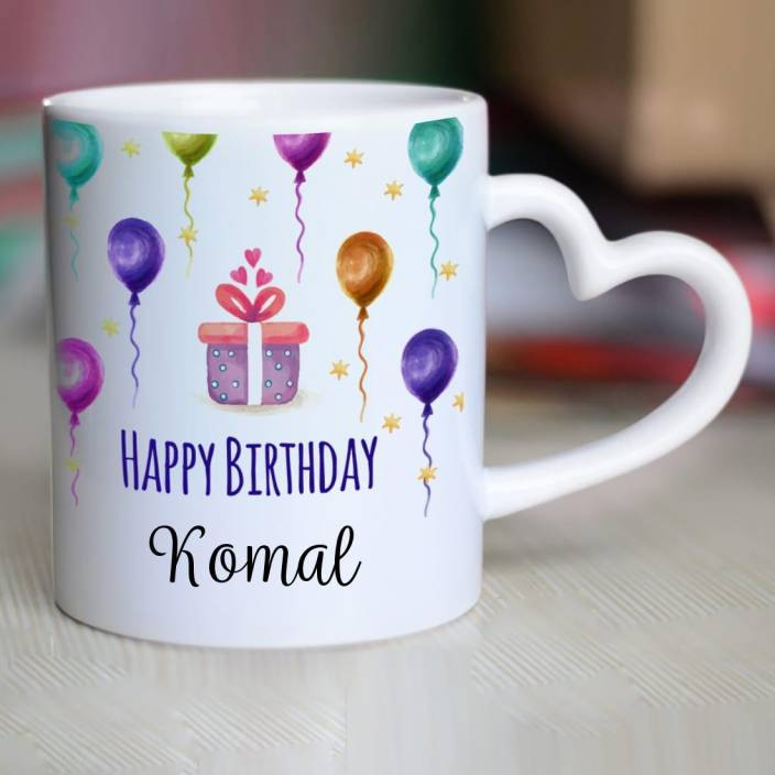 Chanakya Happy Birthday Komal Heart Handle Ceramic Mug Ceramic Mug