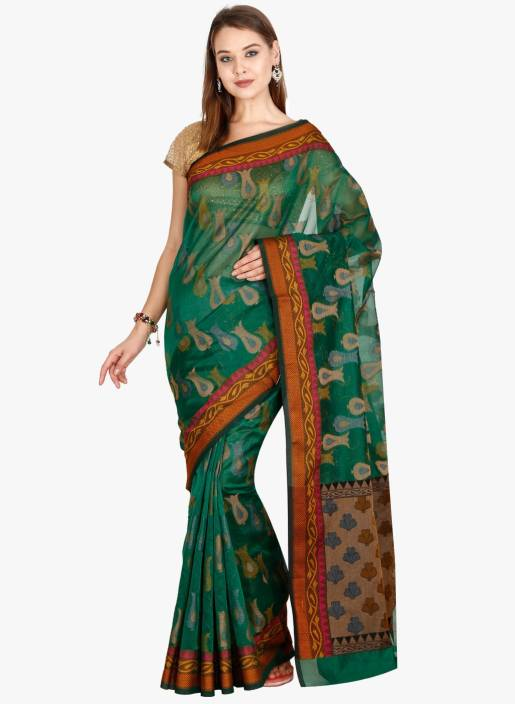 a5ddda14fe Buy The Chennai Silks Woven Manipuri Kota Cotton Green Sarees Online ...