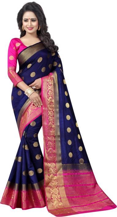 da72098aee Buy Saarah Self Design Kanjivaram Art Silk Dark Blue Sarees Online ...