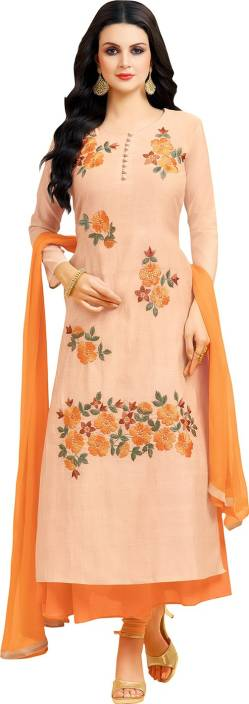 Ratnavati Chanderi Embroidered Semi-stitched Salwar Suit Dupatta Material