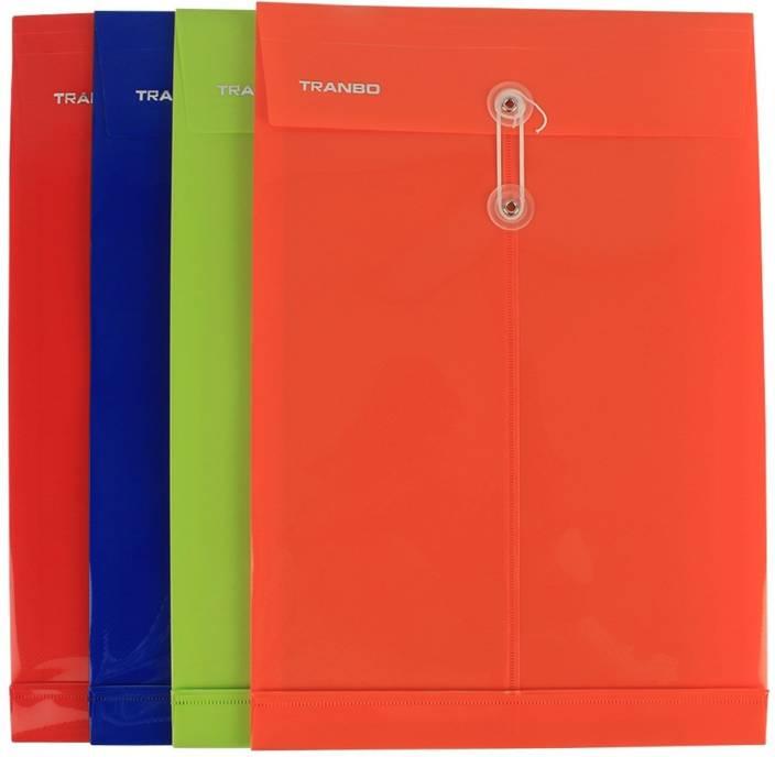 TRANBO Plastic Envelope File Folder, FC Size, Pack of 4