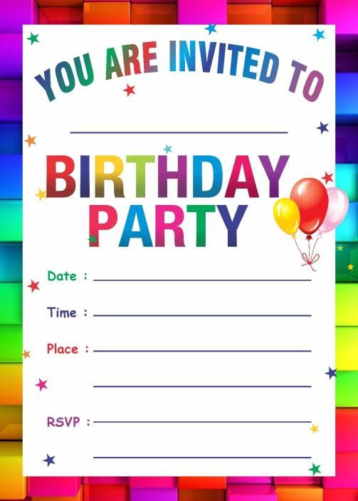 Power Plus Birthday Metallic Card Invitations With Envelopes