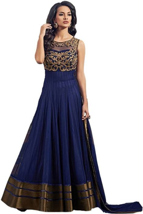 Smart Products Net Embroidered Semi-stitched Salwar Suit Dupatta Material