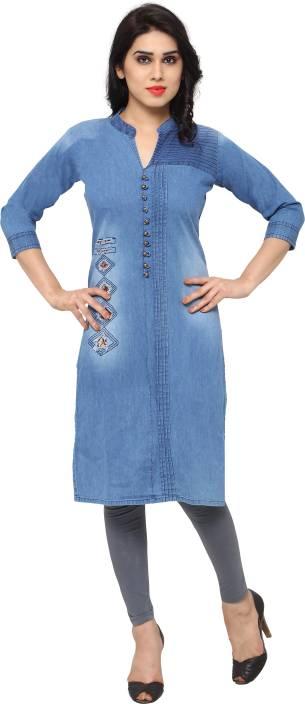 a03271e1aa Kvsfab Women s Solid A-line Kurta - Buy Blue Kvsfab Women s Solid A ...