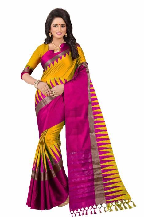 Ratnavati Striped, Solid Fashion Cotton Silk Saree