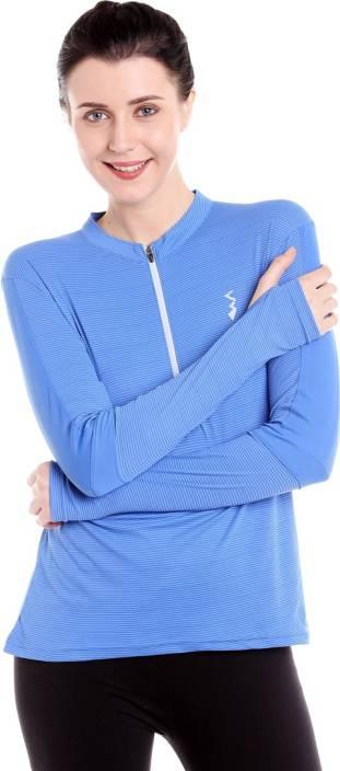 977a5e1944d Campus Sutra Striped Women Henley Blue, White T-Shirt