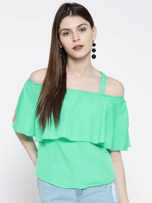 5d40940b7809f U F Casual Shoulder Strap Solid Women s Light Green Top