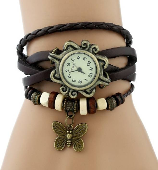 SPINOZA rakhi collation butterfly brown leather belt attractive women Watch  - For Girls