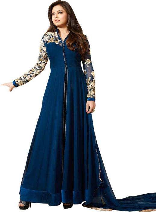 ETHNIC YARD Georgette Embroidered Semi-stitched Salwar Suit Dupatta Material