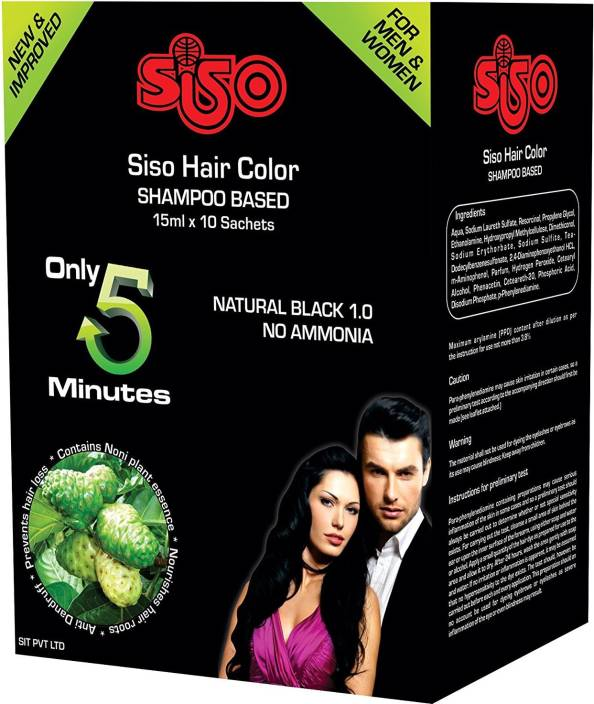 Siso Instant Hair Color Shampoo Pack Of 10 Sachet Hair Color