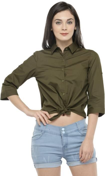 Hive91 Women Solid Casual Green Shirt