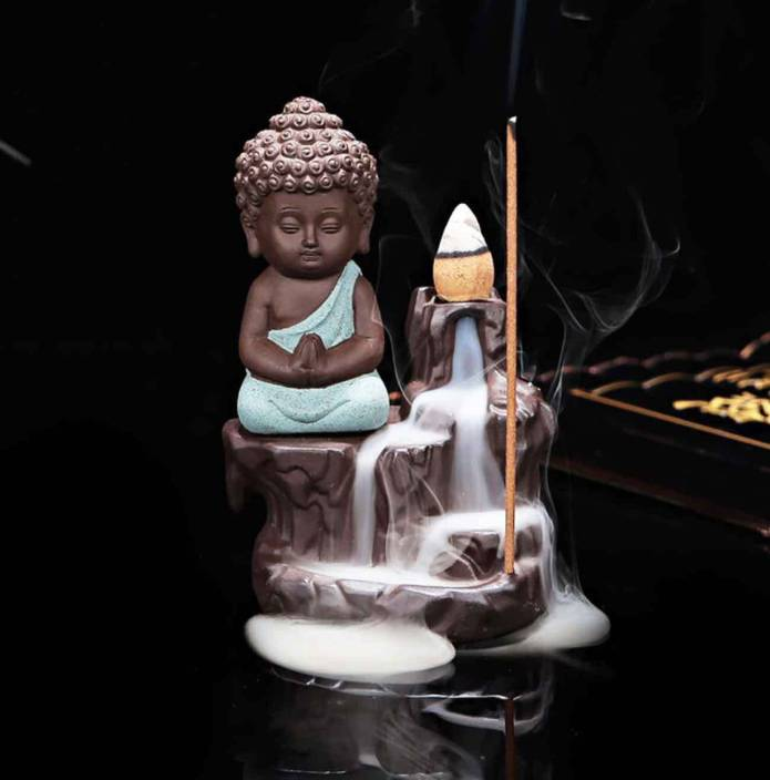 Craft Junction Handcrafted Meditating Little baby Monk Buddha Smoke Backflow Cone Incense Holder With 10 Sticks Showpiece  -  12 cm