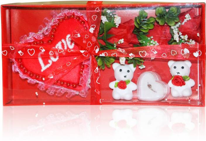 Akshat Valentine Gift Set Love Ring With Teddy Red Roses Heart