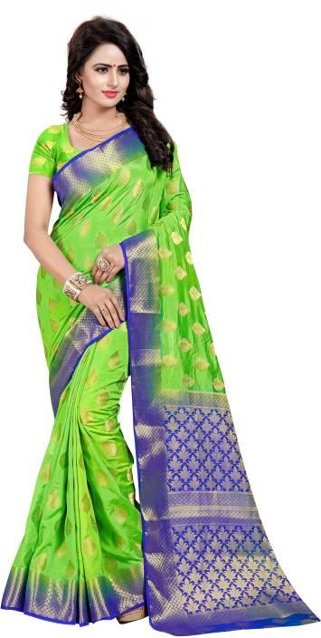 SATYAM WEAVES Self Design Kanjivaram Cotton Silk Saree