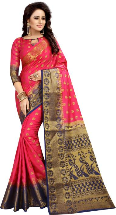 SATYAM WEAVES Self Design Kanjivaram Cotton Silk Saree