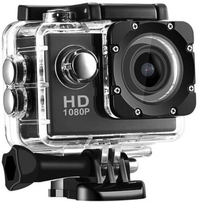 Technuv Action Shot Full HD 12MP 1080P Black Helmet Sports Action Waterproof Sports and Action Camera
