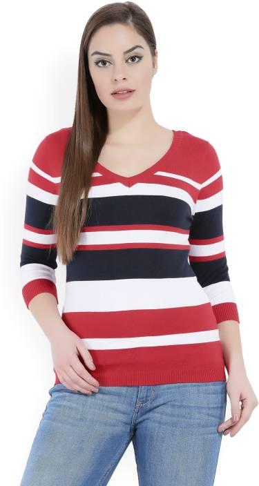 United Colors of Benetton Striped V-neck Casual Women s Multicolor Sweater 231fc0133