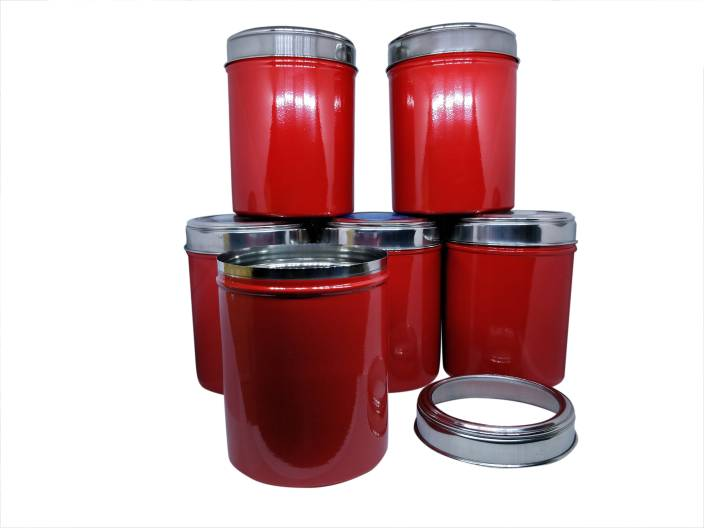 Dynore Stainless Steel set of 6 Red color Kitchen storage canisters with  see through lid - 1.5 L Steel Grocery Container