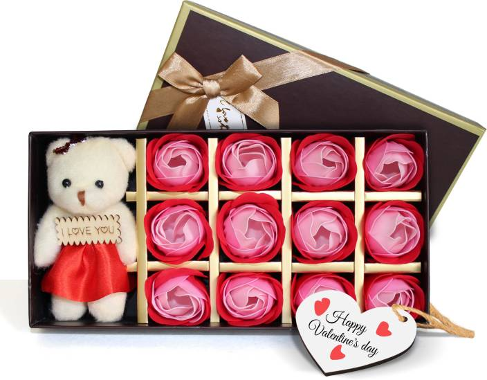 Tied Ribbons Valentines Gifts for girlfriend husband wife lover Boyfriend Teddy and 12 Roses Set with Wooden Tag Soft Toy Gift Set