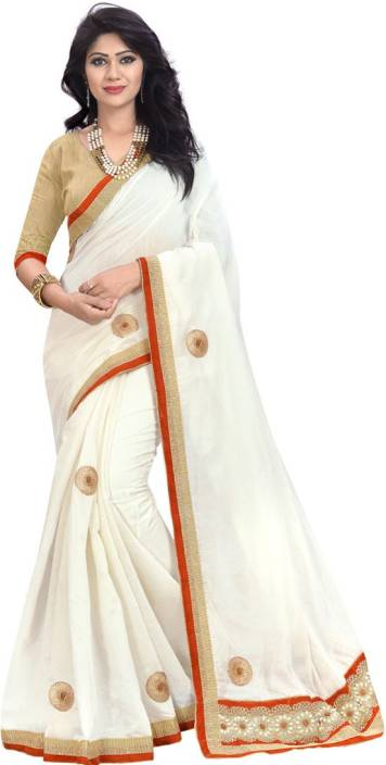 cee624dca2c7cd Looks   Likes Printed Daily Wear Cotton Blend Saree (White