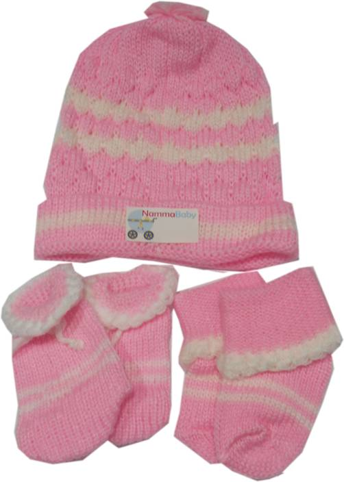 NammaBaby Woolen Caps Mittens Booties Set (Pink) 6229391b805