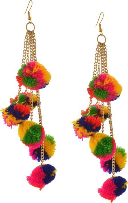 eb04c1218 Zephyrr Fashion Hook Dangle Tassel Long Funky Earrings with Pompoms for  Girls Alloy Dangle Earring