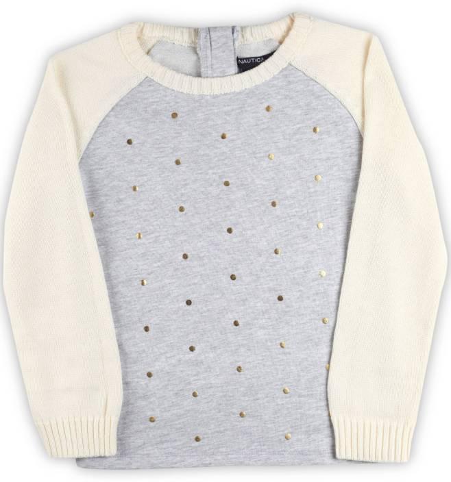482a4259ff64 Nautica Self Design Round Neck Casual Girls Grey Sweater - Buy GREY ...
