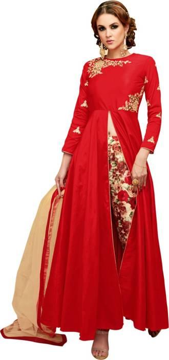 Saara Art Silk Floral Print, Embroidered Semi-stitched Salwar Suit Dupatta Material