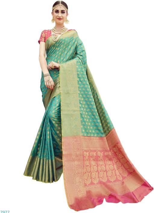 80633bebc8 EthnicJunction Woven Banarasi Silk Saree (Dark Green, Gold, Orange)