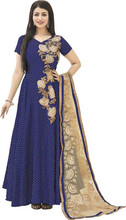 Saara Satin Embroidered, Embellished Semi-stitched Salwar Suit Dupatta Material