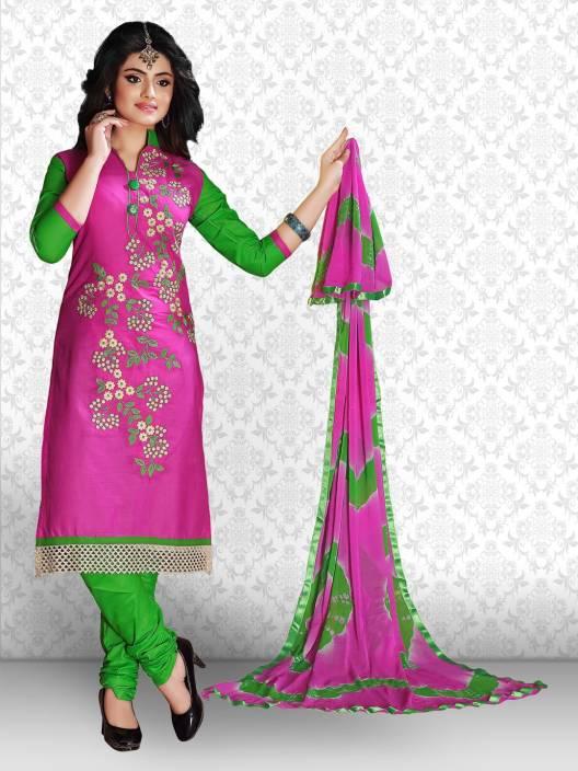 Divastri Cotton Polyester Blend Embroidered Salwar Suit Dupatta Material