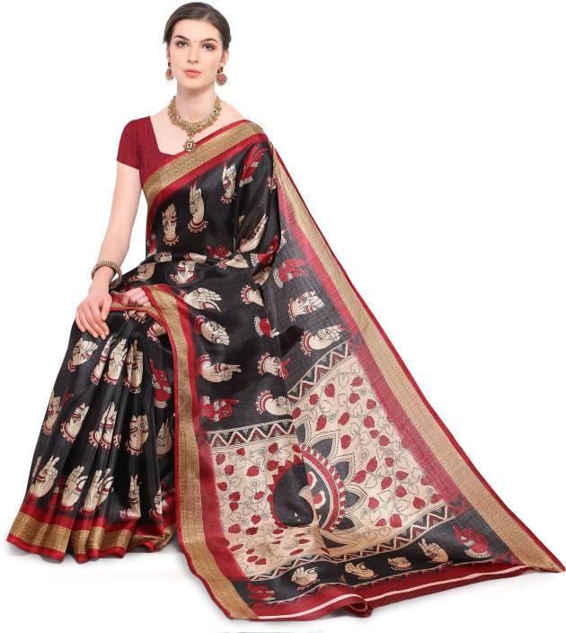 8c6862e98f Buy Divastri Printed, Self Design Madhubani Khadi, Silk Black Sarees ...