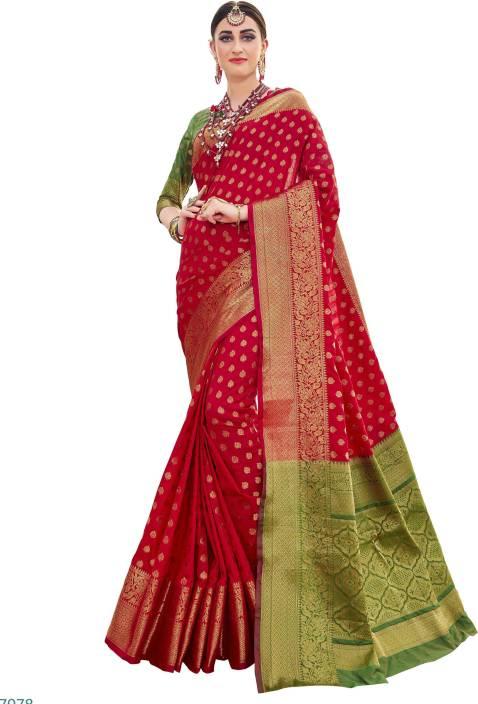 591f41e531 Buy EthnicJunction Woven, Self Design Banarasi Silk Red Sarees ...