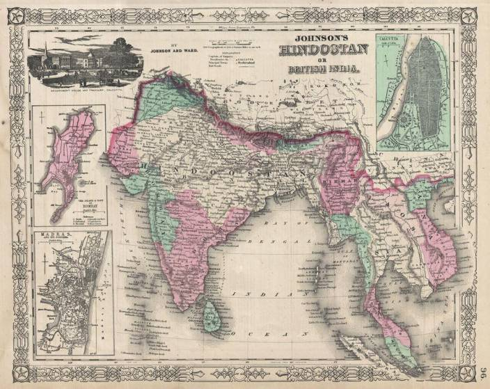 Old India Map BRITISH INDIA OLD MAP 1865 Johnson's Map of India (Hindostan or