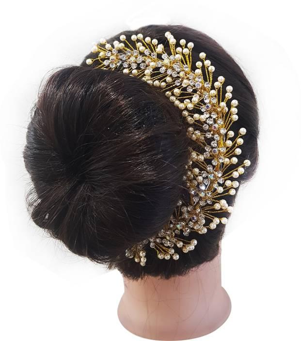 87ea7a071350a Kabello South Indian Pearls Design Hair gajra   hair Accessories For Women  Weddings Hair Band