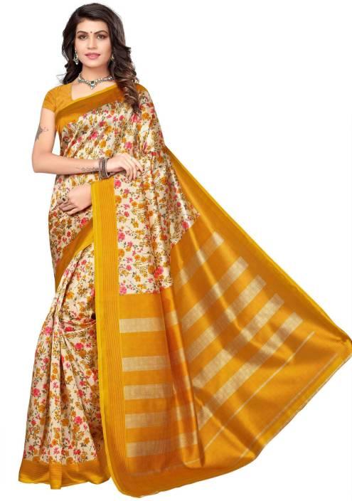 4d875120f68 Buy PAGAZO Floral Print Mysore Silk Multicolor Sarees Online   Best ...