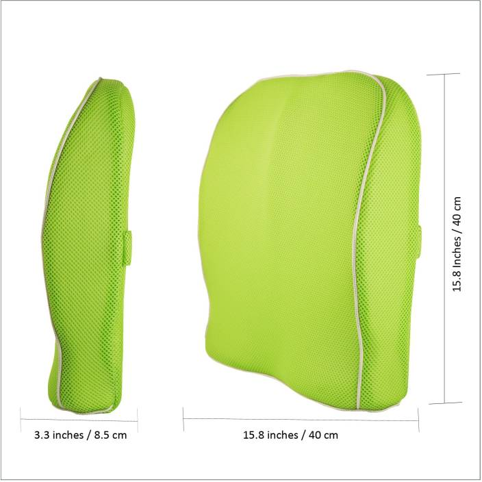 Grin Health Ortho Backrest Cushion with Memory Foam Lumbar Support (Free  Size, Green)