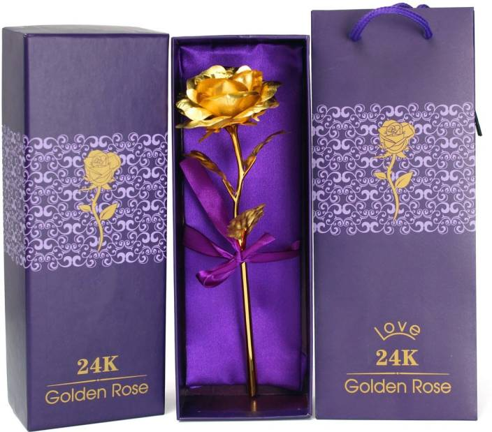 Tied Ribbons Valentine's Day Gift 24K Gold Plated Rose with Attractive Gift Box And Carry Bag Artificial Flower Gift Set