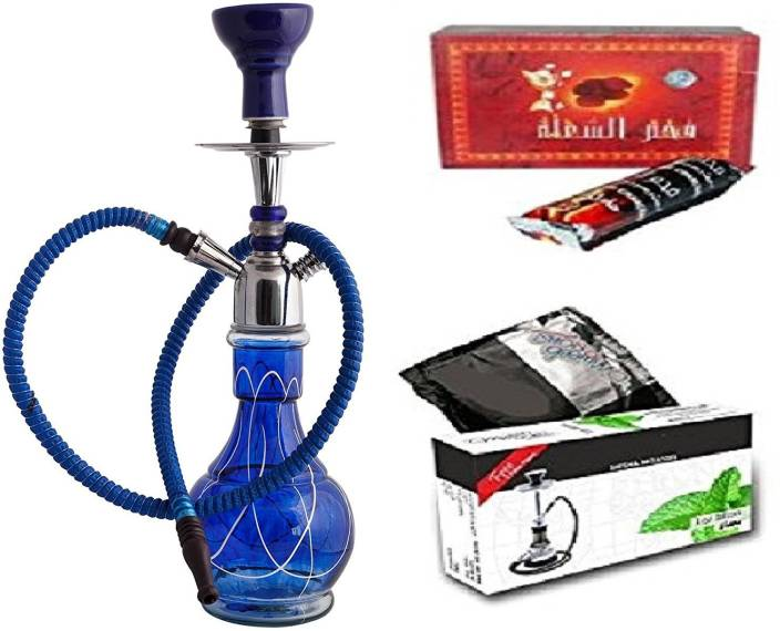 JaipurCrafts Premium Combo OF 18 Inch Hookah With Exotic Hookah Flavour And Charcoal 18 inch Glass Hookah