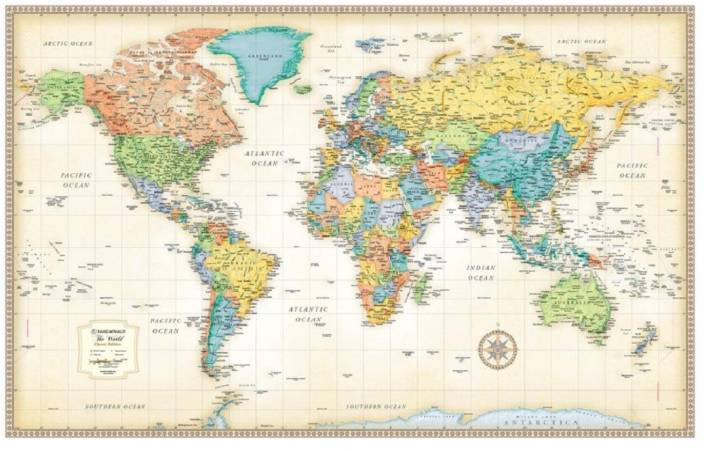 Classic World Wall Map poster LARGE PRINT 126cmX81cm INCHES ...