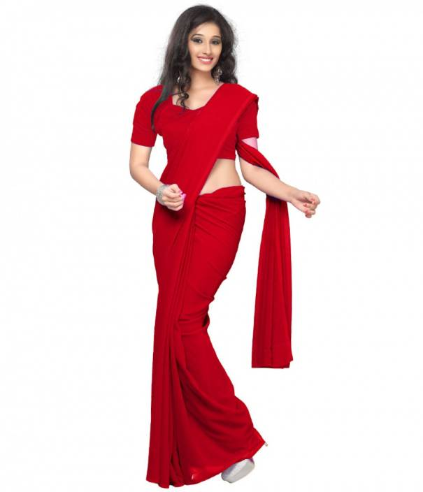 398f2ea264 Buy IndoPrimo Plain Bollywood Georgette Red Sarees Online @ Best ...