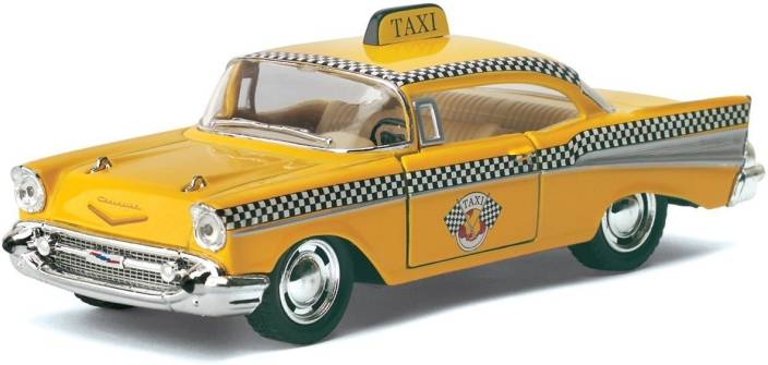 Kinsmart 140 Scale 1957 Chevrolet Bel Air Taxi Toy Diecast Model