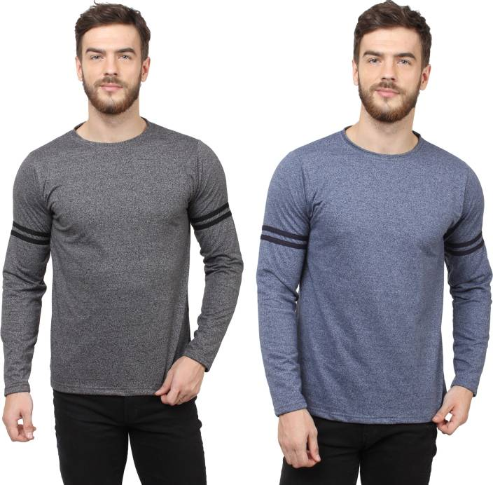 SayItLoud Solid Men's Round Neck Black, Blue T-Shirt