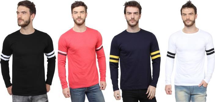 SayItLoud Solid Men's Round Neck Black, Red, White, Blue T-Shirt